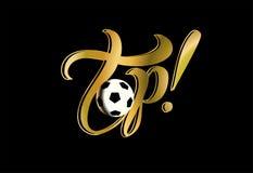 alto lettering Futebol Escrita inspirada vitória esporte dourado Vetor ilustração do vetor