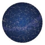 Alto mapa de cielo detallado del hemisferio meridional con nombres de estrellas Foto de archivo libre de regalías