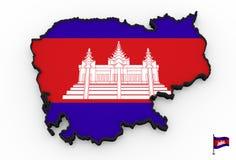 Alto mapa detallado 3D de Camboya libre illustration
