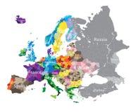 Alto mapa detallado de las regiones de los países de Europa Imagen de archivo libre de regalías
