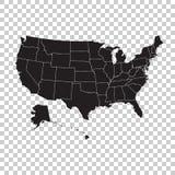 Alto mapa detallado de los E.E.U.U. con los estados federales Ejemplo U del vector stock de ilustración