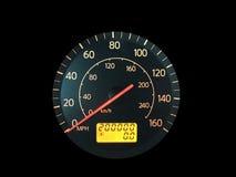 Alto odómetro del kilometraje en negro Foto de archivo