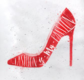 Alto rojo del calzado de la colina del cartel ilustración del vector