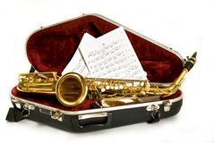 Alto sax. In the case royalty free stock images