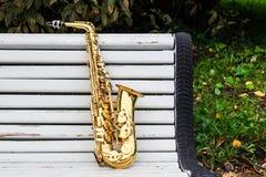 Alto saxophone in autumn Park Stock Photo