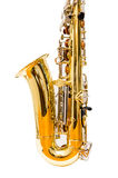 Alto saxophone (isolated). Lower part of an alto saxophone Stock Photos
