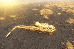 Alto Saxophone Lies de oro en el fondo negro Romántico y fotos de archivo