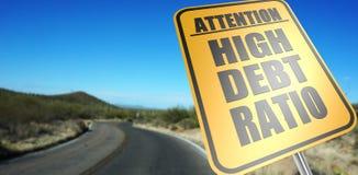 Alto segnale stradale di rapporto di debito Fotografie Stock Libere da Diritti