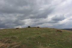 Alto sobre Blagoevgrad antes de la montaña de Rila Imagen de archivo