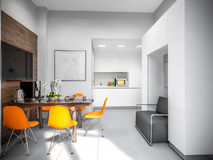 Alto-tecnologia Kitche do minimalismo de Gray White Urban Contemporary Modern Imagem de Stock