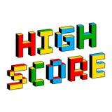 Alto texto de la cuenta en el estilo de viejos videojuegos de 8 bits Letras coloridas vibrantes del pixel 3D Cartel digital creat ilustración del vector