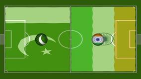 alto vídeo de la definición 4K de la bandera ondulada realista sobre patio del fútbol con los lazos inconsútiles ilustración del vector