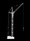 Alto vector detallado de la grúa de levantamiento blanca en fondo negro Foto de archivo libre de regalías