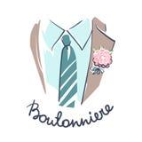 Alto vicino del vestito, della camicia, del legame e di boutonniere dello sposo illustrazione vettoriale