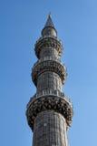 Alto vicino della torre, la moschea blu, Costantinopoli, Turchia Immagine Stock Libera da Diritti