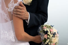 Alto vicino dello sposo e della sposa Fotografie Stock