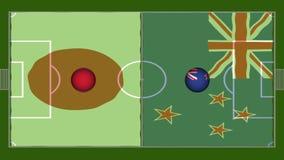 alto video di definizione 4K della bandiera ondulata realistica sopra il campo da giuoco di calcio con i cicli senza cuciture del stock footage
