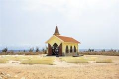 Alto Vista Chapel sull'isola di Aruba Fotografie Stock Libere da Diritti