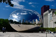 Altocumulus Clouds on the Bean. This is a Spring picture of Altocumulus clouds reflected on the surface of the iconic Bean located at Millennium Park in Chicago Royalty Free Stock Image