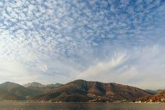 Altocumulus clouds. Montenegro Stock Photo