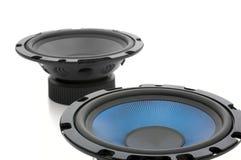 Altofalantes audio isolados no branco foto de stock royalty free