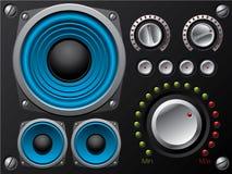 Altofalantes azuis com amplificador e botões ilustração do vetor