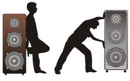 Altofalantes e silhuetas acústicos ilustração do vetor