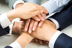 Altogether. Close �up of business people�s hands on top of each other Stock Photos