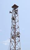 Altoparlante sull'alta torre Fotografie Stock Libere da Diritti