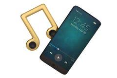 Altoparlante sulla nota di musica e sul concetto dell'audio dello Smart Phone illustrat 3d royalty illustrazione gratis