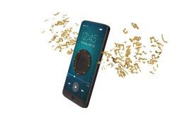 Altoparlante sulla nota di musica e sul concetto dell'audio dello Smart Phone illustrat 3d Illustrazione di Stock