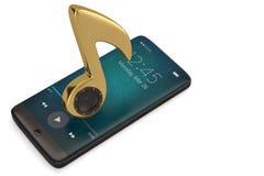Altoparlante sulla nota di musica e sul concetto dell'audio dello smartphone illustrati 3d Illustrazione Vettoriale