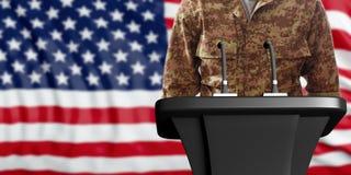 Altoparlante in un'uniforme militare americana, stante su un fondo della bandiera di U.S.A. illustrazione 3D Immagine Stock