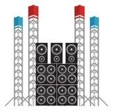 Altoparlanti di concerto e di festival più gli impianti di perforazione leggeri Fotografia Stock Libera da Diritti