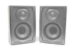 Altoparlanti stereo d'argento Fotografie Stock