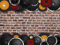 Altoparlanti sulla parete orizzontale Fotografie Stock Libere da Diritti