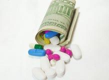 Altos costes del concepto costoso de la medicación Imágenes de archivo libres de regalías