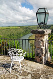 Altos de Chavon cafe with view on tropical river Royalty Free Stock Images