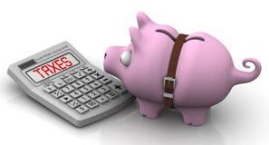 Altos impuestos Pluma, lentes y gráficos Fotografía de archivo