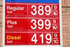 Altos precios de la gasolina Fotografía de archivo libre de regalías