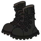 Altos zapatos de cuero negros de los militares del cordón Foto de archivo libre de regalías