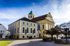 Altotting in Bavaria. Winter in Germany. Central square of Altotting in Bavaria. Winter in Germany Stock Photo