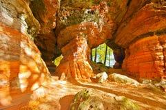 Altschlossfelsen岩石在达恩洛克兰,德国 免版税库存图片