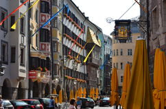 Altstadt, Innsbruck Austria. Downtown Altstadt, Innsbruck - Old Town Main Street Stock Photo
