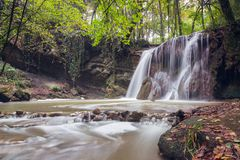 Altube waterfall in the Gorbea Natural Park, Basque Country, Spain. Long exposure in a cloudy day royalty free stock photos