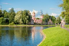 Altufyevo Manor and Church of the Exaltation of the Holy Cross. MOSCOW, RUSSIA - 23 JULY, 2017: Altufyevo Manor and Church of the Exaltation of the Holy Cross Stock Photography
