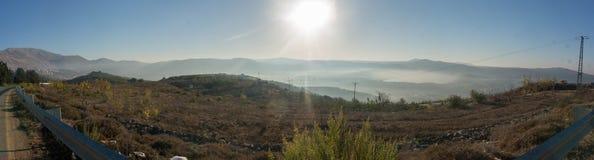 Alture del Golan di paesaggio panoramico di mattina Immagine Stock