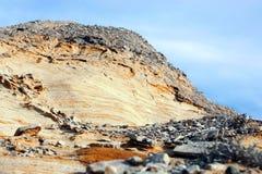 Altyn-Emel nationalpark, kanjon Ak-Tau Arkivfoto