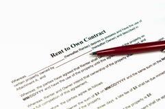Aluguel a próprio contrato imagem de stock