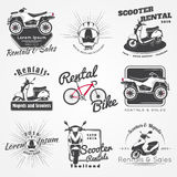 Aluguel, venda e reparo - bicicletas, bicicletas motorizadas e 'trotinette's Clube Bicycling Elementos detalhados Grunge retro ve Fotografia de Stock Royalty Free
